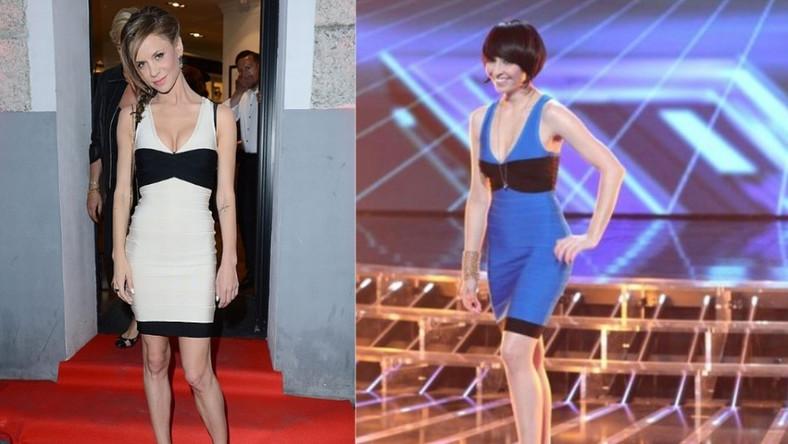 Obie gwiazdy wybrały ten samo model sukienki Herve Leger. Kreacje różniły się tylko kolorem