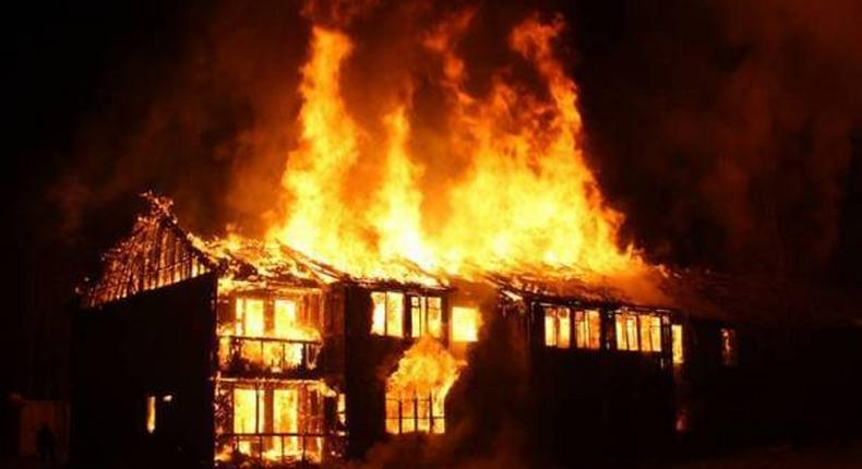 File Photo of a house on fire.
