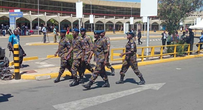 Kenya Airforce personnel deployed to JKIA amid aviation workers strike