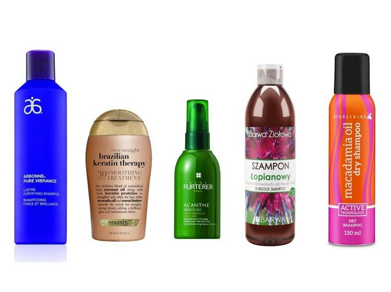 Arbonne Pure Vibrance, szampon wzmacniający połysk 133zł/237ml; Organix,  30-dniowa keratynowa kuracja wygładzająca, 44,90zł/100ml; René Furterer, serum Acanthe podkreślające skręt loków (bez spłukiwania), 76zł/100ml; Barwa Ziołowa, szampon łopianowy do włosów farbowanych i po trwałej ondulacji, 4zł/250ml; Bioelixire, suchy szampon Macadamia oil+collagen, ok. 20zł/150ml