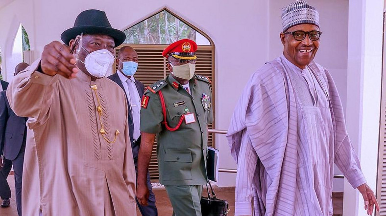 Former President Goodluck Jonathan was in attendance as President Muhammadu Buhari presided over virtual meeting of the Council of State recently [Twitter/@BashirAhmaad]