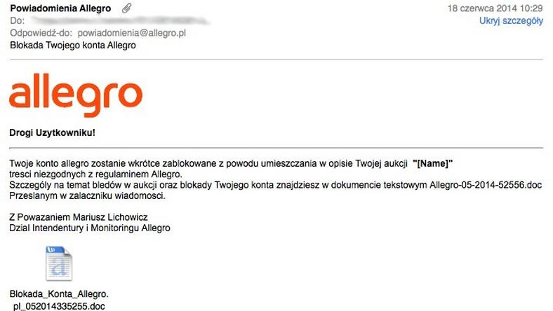c3396af1f04b78 Blokada Twojego konta Allegro - uwaga na niebezpieczne e-maile ...