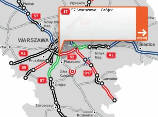 Fragment trasy S7 zaznaczono na zielono. Źródło: GDDKiA