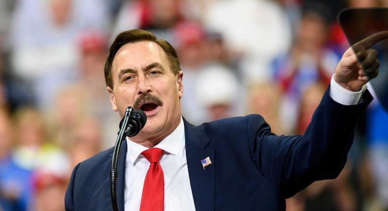 MINNEAPOLIS, MN - OCTOBER 10: Mike Lindell, CEO of My Pillow, speaks during a campaign rally held by U.S. President Donald Trump at the Target Center on October 10, 2019, in Minneapolis, Minnesota.