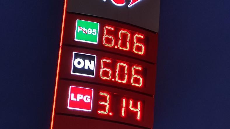 Stacja paliw, 14 październik 2021 roku - ceny wystrzeliły ponad 6 zł