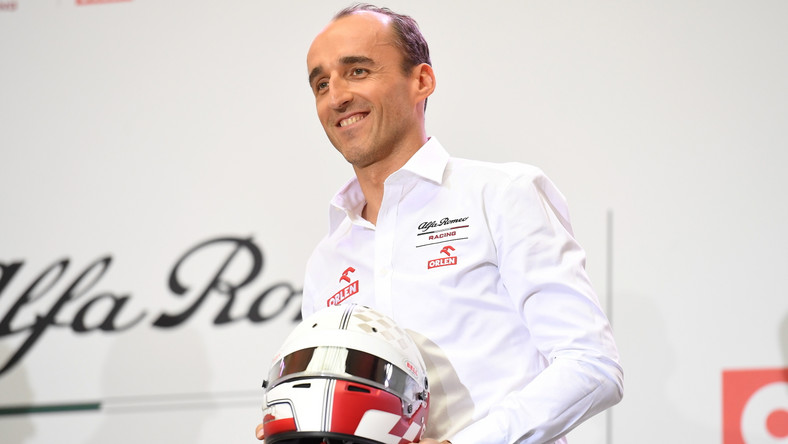 Kierowca zespołu Alfa Romeo Racing Orlen Robert Kubica podczas konferencji prasowej dot. współpracy PKN ORLEN z Alfa Romeo Racing ORLEN