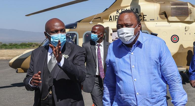 President Uhuru Kenyatta arrives in Kabarak for former President Mzee Daniel Moi's remembrance service