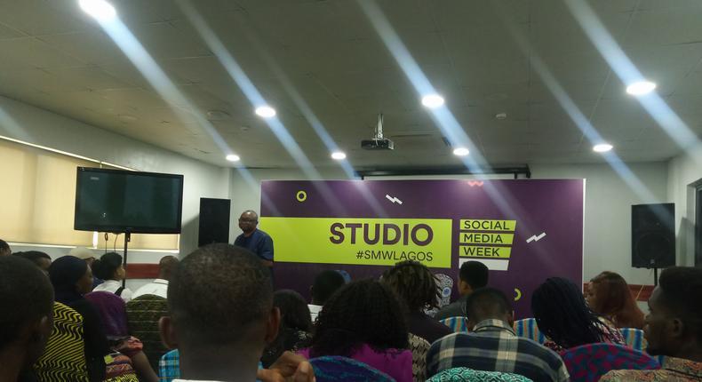 Tomi Davies speaking at the Social Media Week Lagos