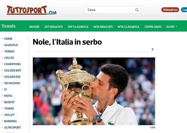 """Tutosport i kolumna """"Nole, Italija na srpskom"""""""