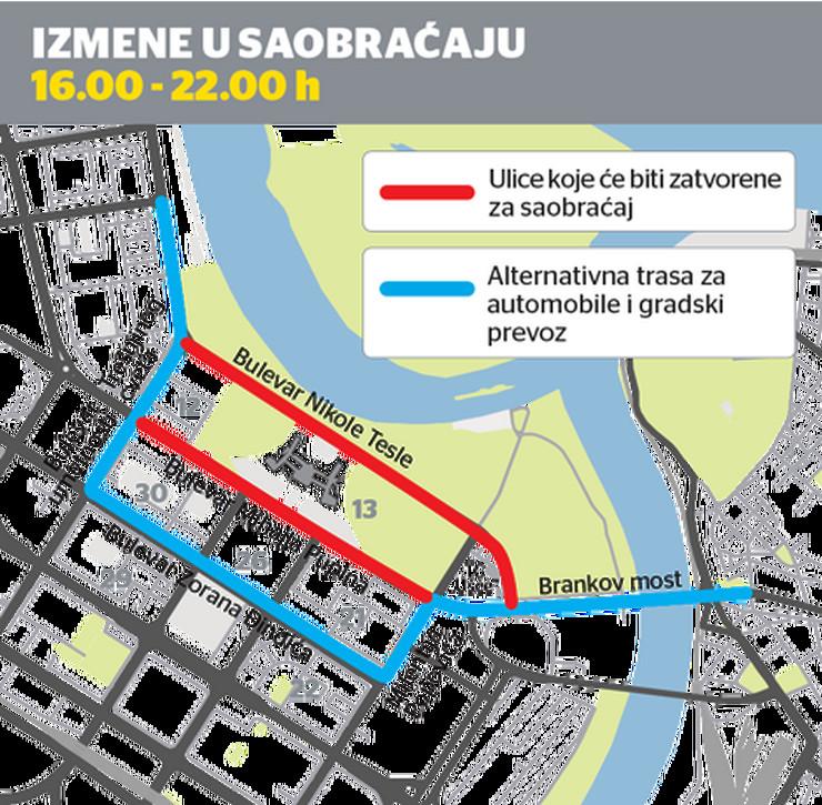 mapa beograda bulevar nikole tesle BLOKADA NOVOG BEOGRADA OD 16.00 DO 22.00 Evo šta će sve biti  mapa beograda bulevar nikole tesle