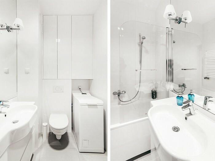 Łazienka wyróżnia się funkcjonalnością i komfortem.