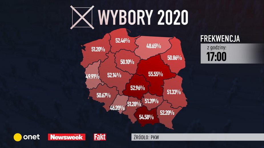 Wybory 2020. Frekwencja do godz 17