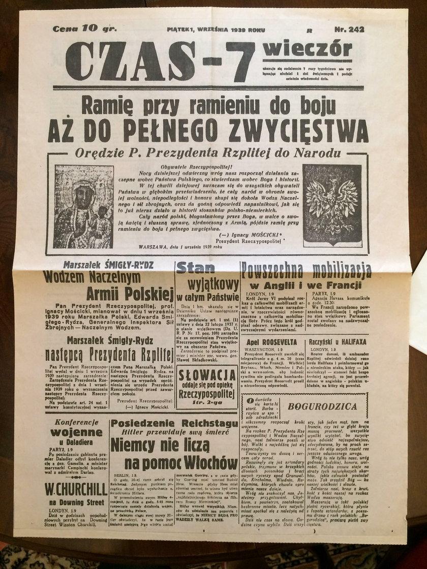 Gazeta z 1 września 1939 roku
