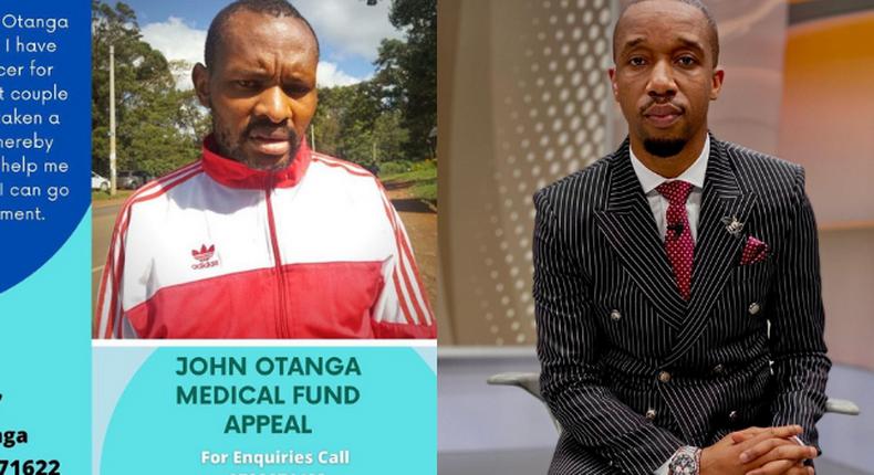 Rashid Abdalla pitted against John Otanga' poster. NTV  Journalist John Otanga appeals for Financial help to seek cancer treatment in India