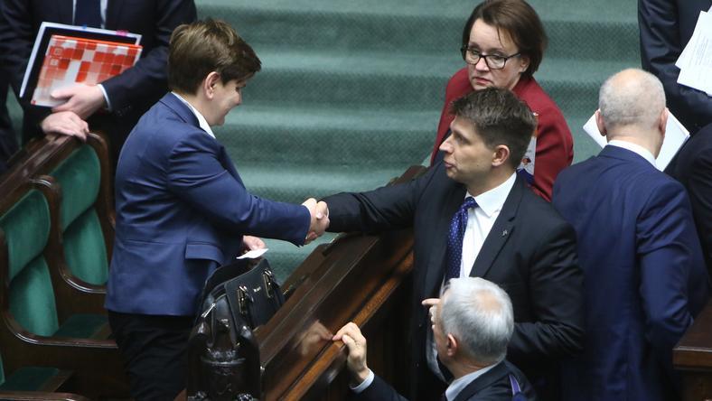 Premier Beata Szydło i lider Nowoczesnej Ryszard Petru