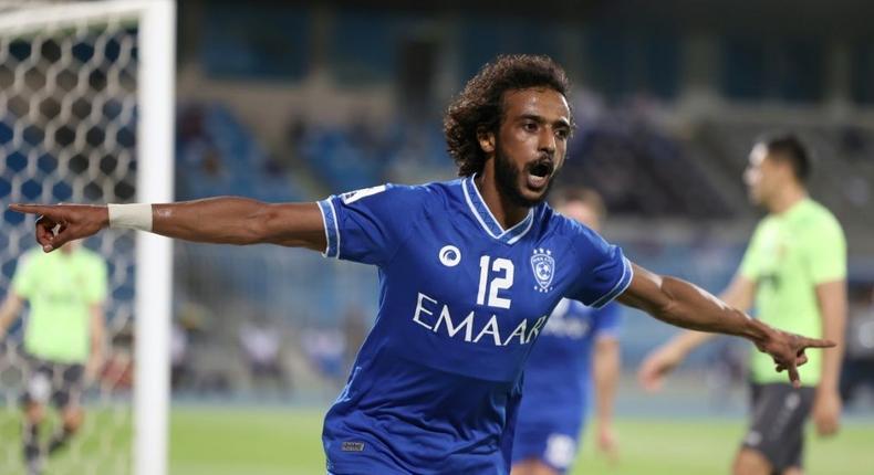 Yasir al-Shahrani celebrates the third goal for Saudi Arabia's Al Hilal in the 3-0 win against Uzbekistan's AGMK in AFC Champions League Group A on Tuesday Creator: Fayez Nureldine