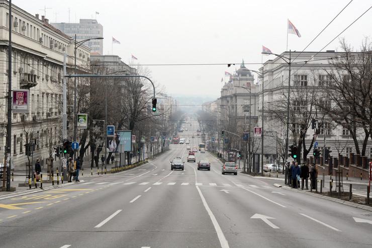 prazne ulice Kneza Milosa foto Milan Ilic