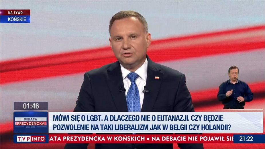 """""""Debata"""" w TVP. O czym mówił Andrzej Duda?"""