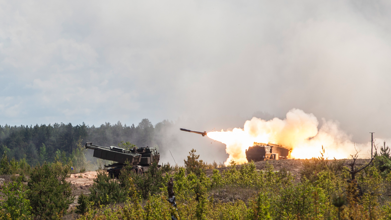 US Army soldiers fire a high mobility artillery rocket system during a live fire exercise at Adazi Training Grounds, Latvia, June 8, 2017.