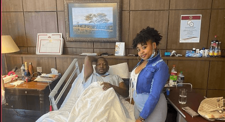 Former Governor Mike Sonko with daughter at Nairobi Hospital