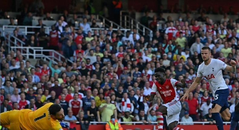 Bukayo Saka (centre)scored Arsenal's third goal against Tottenham Creator: Ben STANSALL