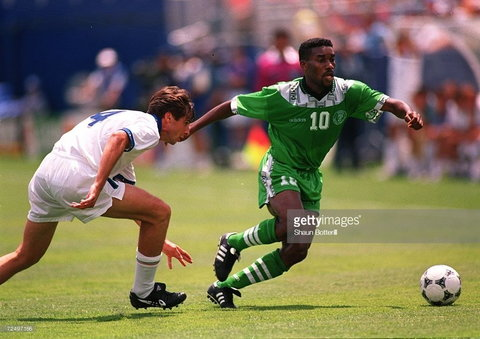 Austin 'Jay Jay' Okocha at the heart of midfield for Nigeria at the 1994 World Cup in the United States (Getty Images)