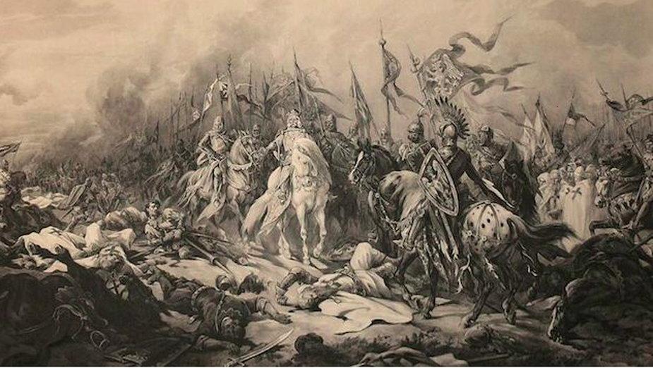 Obraz przedstawiający bitwę pod Płowcami 1331, autor Juliusz Kossak  - domena publiczna