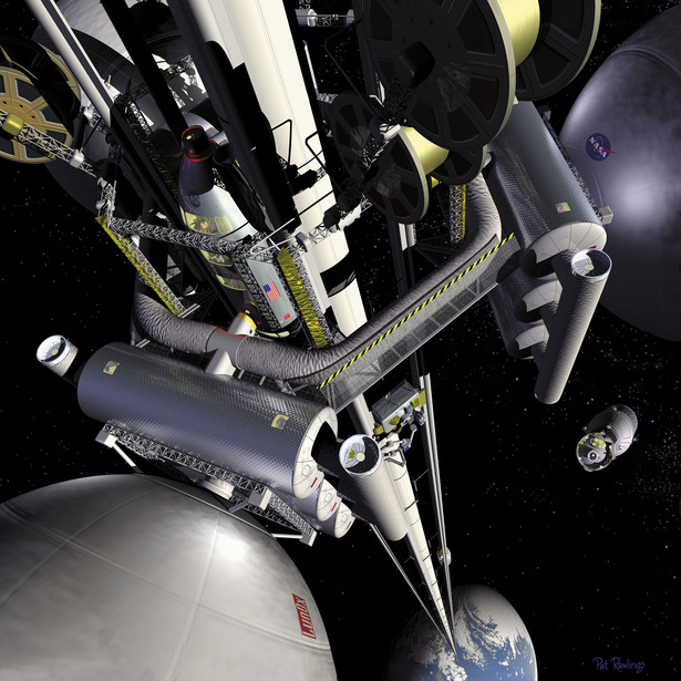 Kosmiczna winda - artystyczna koncepcja stworzona przez NASA