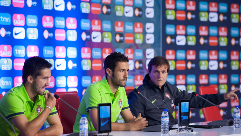 Reprezentanci Portugalii na konferencji prasowej