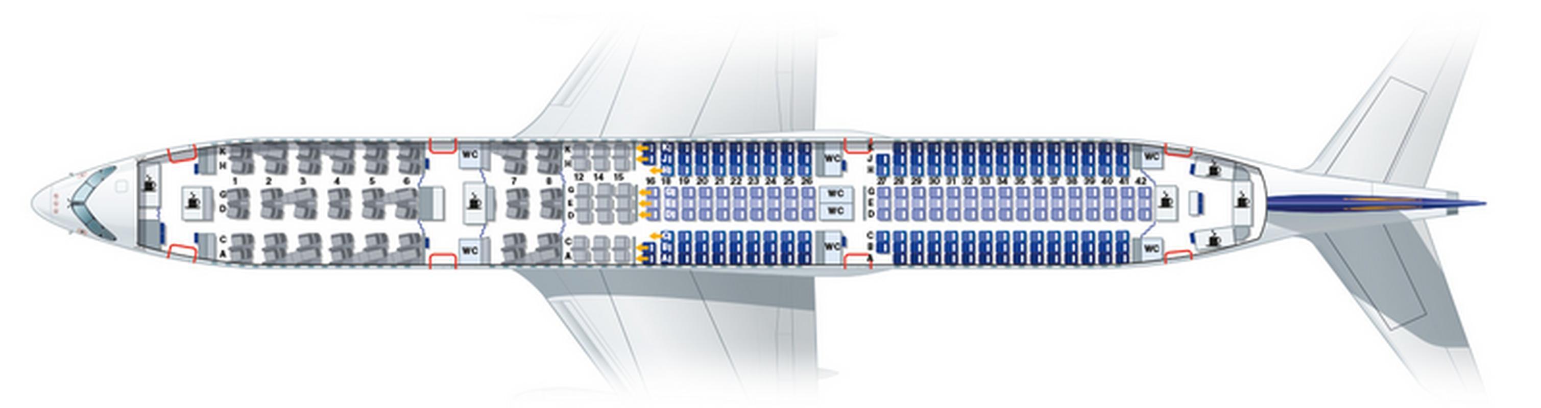 Układ miejsc w poszczególnych klasach na pokładzie A350-900