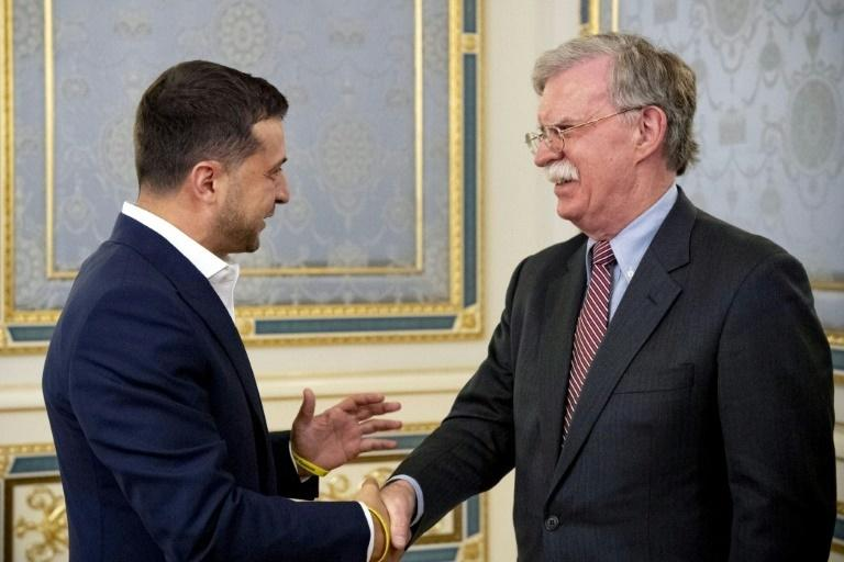 Ukrainian President Volodymyr Zelensky welcomes US national security advisor in Kiev in August 2019