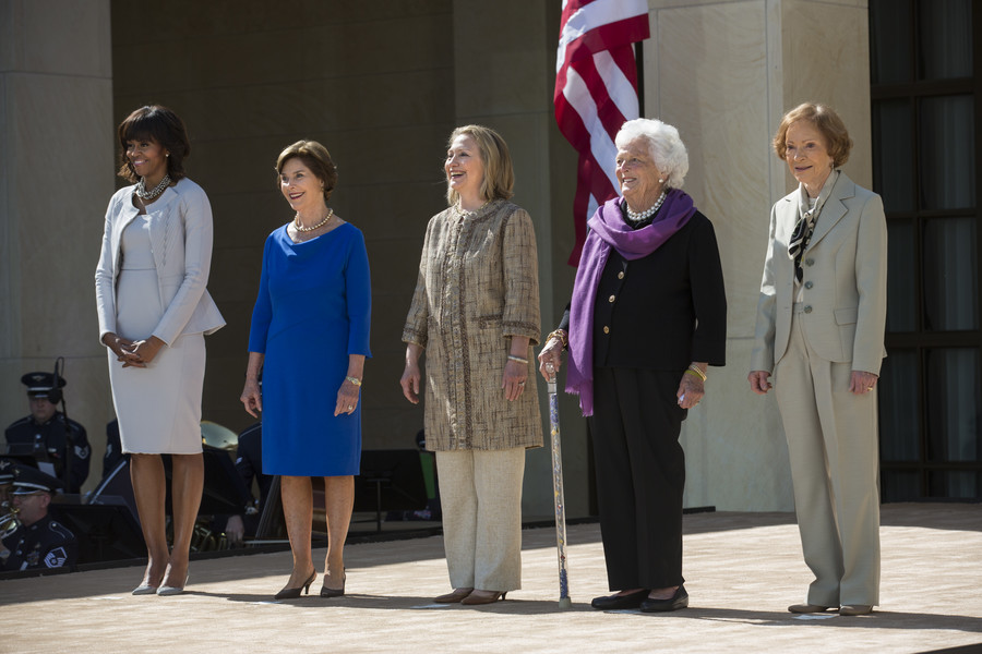 Laura Bush, Hillary Clinton, Barbara Bush and Rosalynn Carter /  (Photo by Brooks Kraft LLC/Corbis via Getty Images)