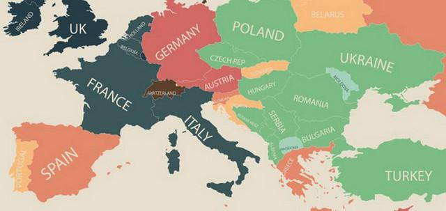 Zemlje Evrope (svetloplavom bojom su obojene najjeftinije, a braon bojom najskuplja zemlja) (mapa u punom izdanju ispod teksta)