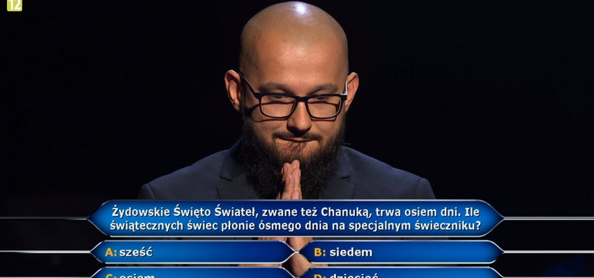 """W """"Milionerach"""" padło pytanie za milion złotych! Czy Dawid wiedział, ile świec płonie ósmego dnia Chanuki?"""