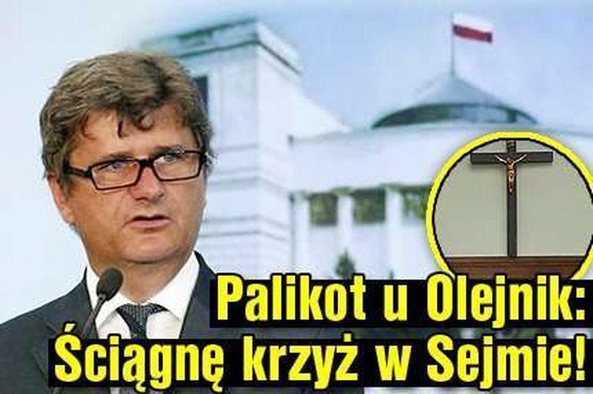 Palikot u Olejnik: Ściągnę krzyż w Sejmie!