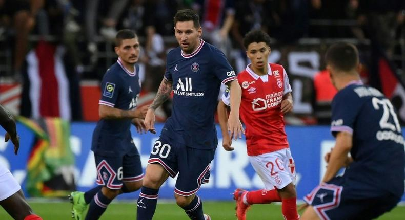 Lionel Messi replaced Neymar in the second half of PSG's game at Reims