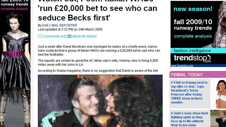 20 000 funtów za uwiedzenie Beckhama?