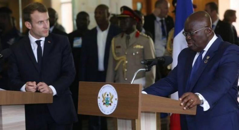French President Emmanuel Macron and President of Ghana Nana Akufo Addo