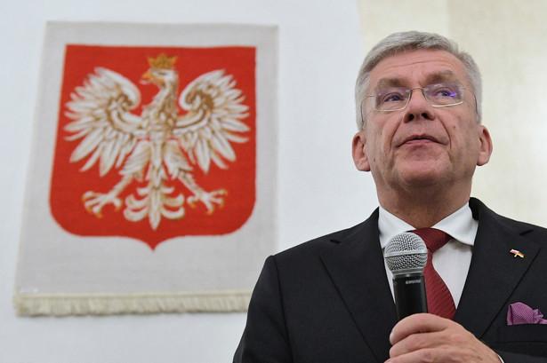 Marszałek Senatu RP Stanisław Karczewski podczas spotkania z polonią w Konsulacie Generalnym RP w Kolonii.