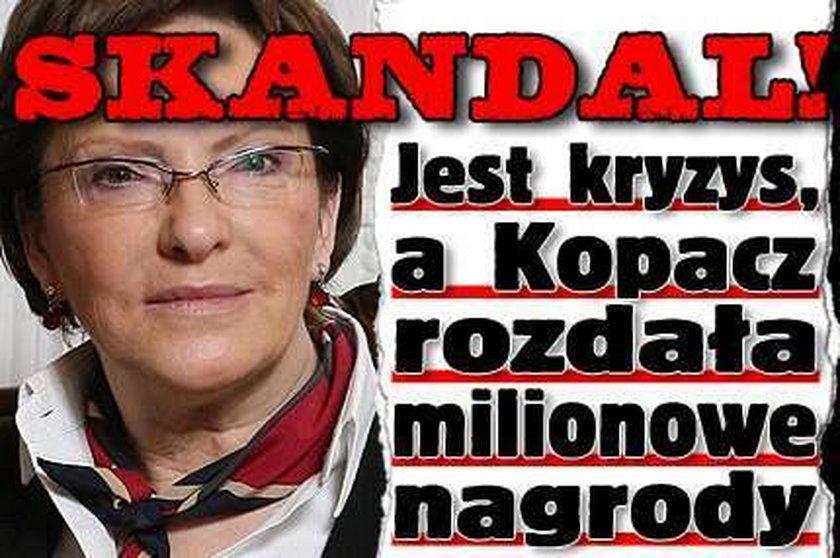 Skandal! Jest kryzys, a Kopacz rozdała milionowe nagrody