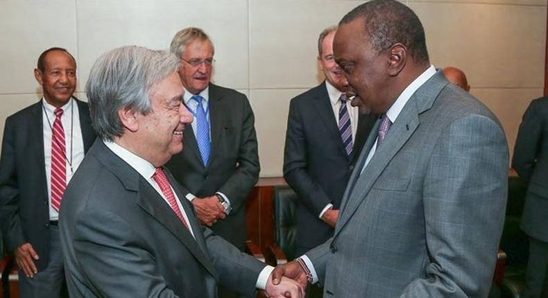 UN Secretary-General Antonio Guterres (left) and President uhuru Kenyatta agreed that Kenya would take up command of the peace keeping forces in Darfur.
