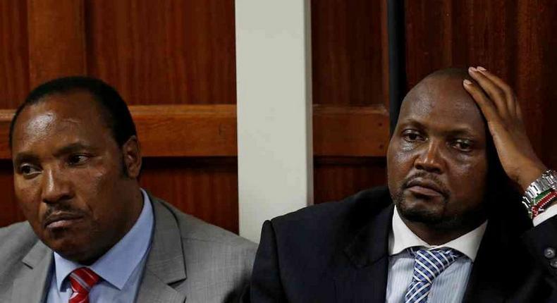 Kabete MP Ferdinand Waititu and Gatundu South's Moses Kuria at a Milimani Law Courts last year.