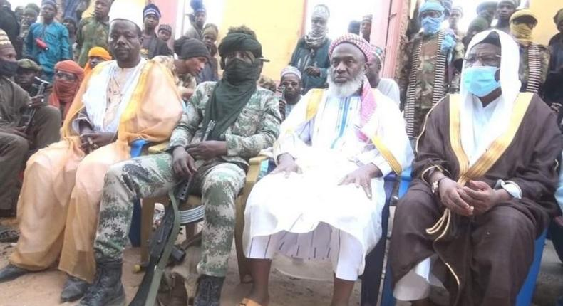 Sheikh Ahmad Gumi (second from right) recently met with bandits in Zamfara, Kaduna, and Niger to negotiate peace [HumAngle]