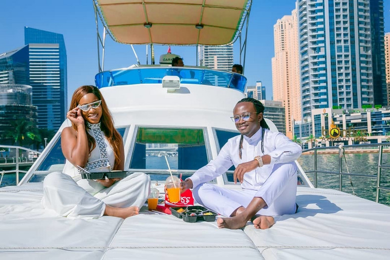 Bahati and his Queen at the Dubai Marina Yacht Club (Instagram)