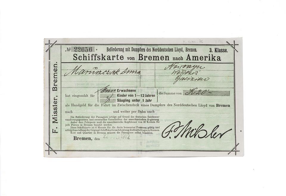 Ponad stuletni bilet na statek do Ameryki