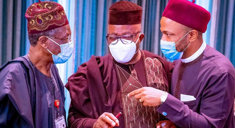 From left: Minister of Information, Lai Mohammed, Minister of Niger-Delta Affairs, Sen. Godswill Akpabio and Minister of State for Education, Emeka Nwajiuba. [Twitter/@BashirAhmaad]
