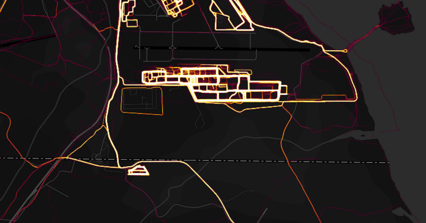 Mapa aktywności w Dżibuti, gdzie USA i Chiny mają swoje bazy wojskowe. Możliwe, że aktywność dotyczy bazy CIA