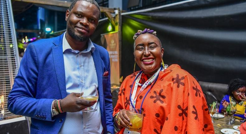 Left Gordon Mutugi KWAL corporate affairs manager with (Right) Rayhab Gachango writer from potentash during the Viceroy media event at the Tav Mirage.