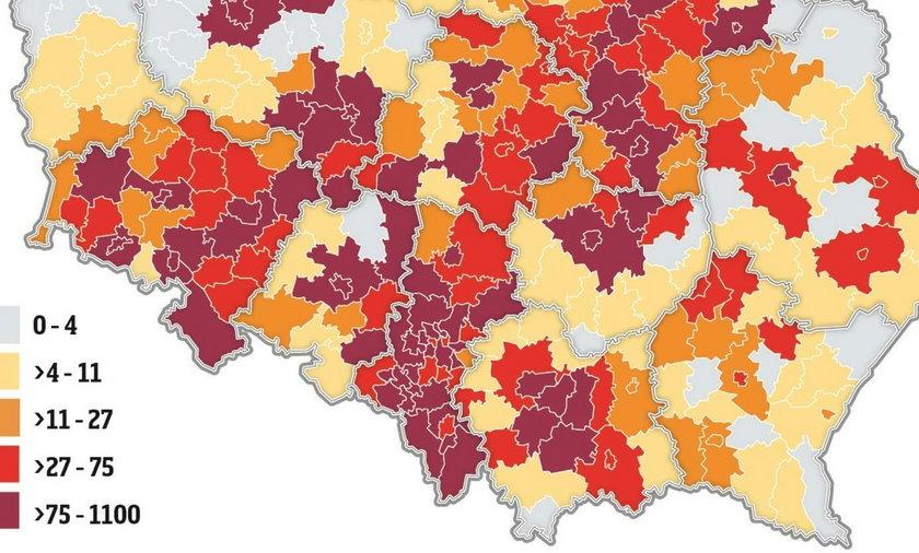 Liczba potwierdzonych przypadków z poszczególnych powiatów wg Dane-i-analizy.pl