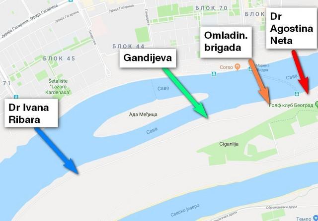 Moguće lokacije za izmeštanje mosta